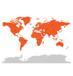 Map of united nation with orange highlighted vector