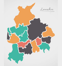 Lancashire england map with states and modern vector