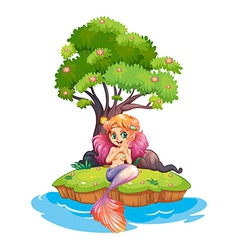 An island with a smiling mermaid vector image