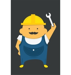 Engineer with instrument in construction helmet vector