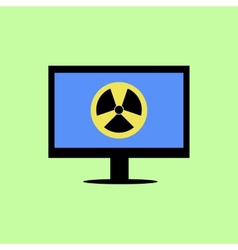 Flat style computer with virus icon vector