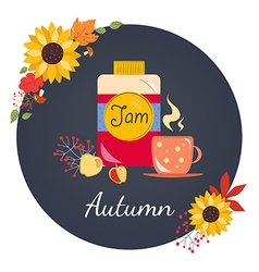 Autumn with jam vector