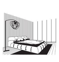 Outline sketch of a interior space vector image