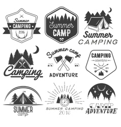 Set of camping labels in vintage style vector