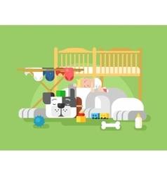 Dog and baby sleep vector
