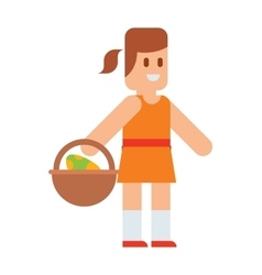 Easter girl with traditional spring basket eggs vector