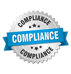 Compliance 3d silver badge with blue ribbon vector
