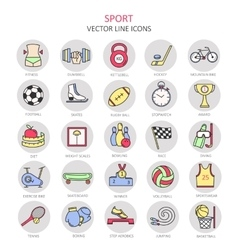 Modern color thin line icons on sports themes vector