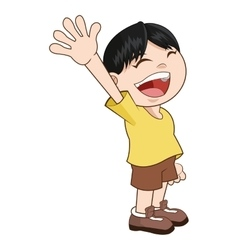 Happy smiling waving boy icon vector