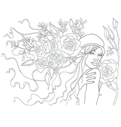 beautiful girl with flowers in her hair beautiful vector image