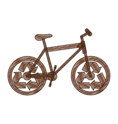 Bike or bicycle with recycle arrows icon image vector