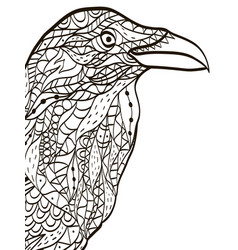 bird head raven coloring book for adults vector image
