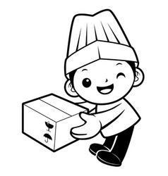 black and white cartoon cook mascot delivery is vector image