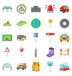 Bridge road icons set cartoon style vector