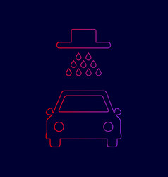 Car wash sign line icon with gradient vector