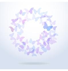Card design blue butterflies set on white vector