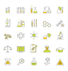 chemical signs thin line icon set vector image vector image