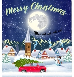Christmas card design of car with tree on the top vector image