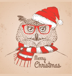 christmas hipster fashion bird owl vector image vector image
