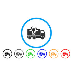 cow transportation rounded icon vector image