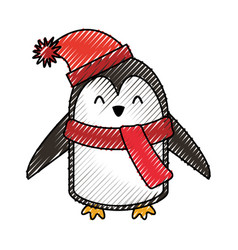 Cute scribble christmas penguin cartoon vector