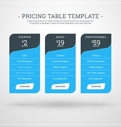 Design Template for Pricing Table for Websites and vector image vector image