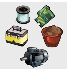 Electric industry set motor coil chip and other vector image vector image