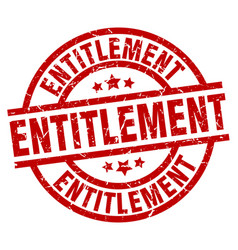 entitlement round red grunge stamp vector image vector image