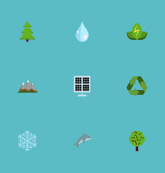 Flat icons landscape water winter snow vector