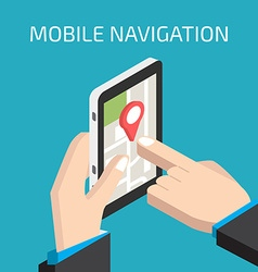 Gps mobile navigation with smartphone in hand vector