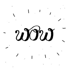Hand-drawn word wow in black color vector