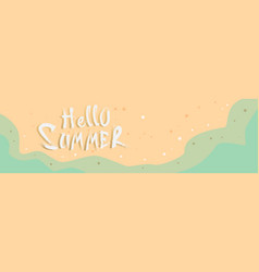 Hello summer beach top angle view vacation sand vector
