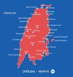 island of lefkada in greece red map vector image vector image