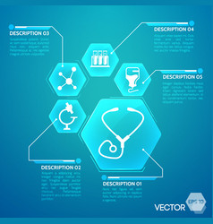 Medicine and pharmacy blue poster vector