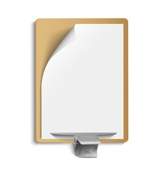 Metallic clamp on blank sheet of paper vector image vector image