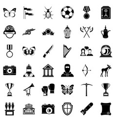 museum science icons set simple style vector image
