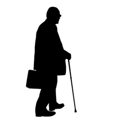 old man silhouette with cane vector image vector image