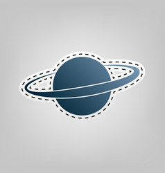 Planet in space sign blue icon with vector