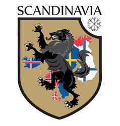 Scandinavian design heraldic shield a wolf on a vector