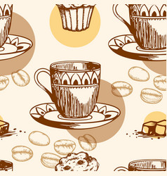 Seamless pattern with cake and coffee vector