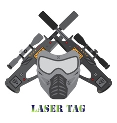 Set of laser tag game helmet guns in flat style vector image vector image