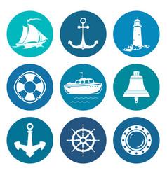 Set of round marine travel icons vector