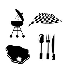 Set picnic meat cuttlery grill and blanket vector
