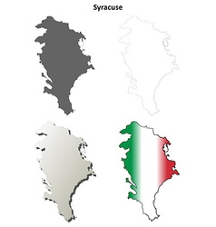 Syracuse blank detailed outline map set vector image vector image