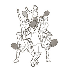 Tennis players men and women action outline vector