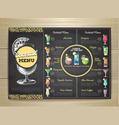 vintage chalk drawing flat cocktail menu design vector image