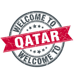 Welcome to qatar red round vintage stamp vector