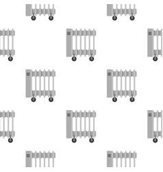 White electric heater on wheels pattern seamless vector