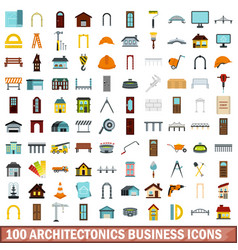 100 architectonics business icons set flat style vector image