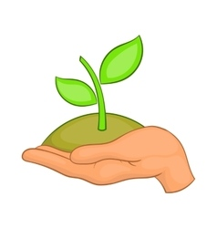 Hands with green sprout icon cartoon style vector